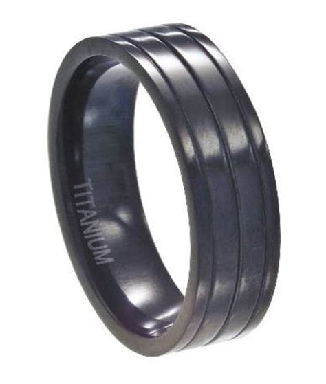Black Titanium Wedding Ring For Men, Unique Glossy Ridges