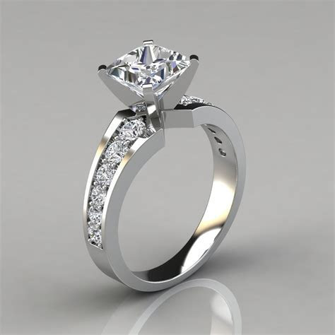 Graduated Pave Princess Cut Engagement Ring   Forever