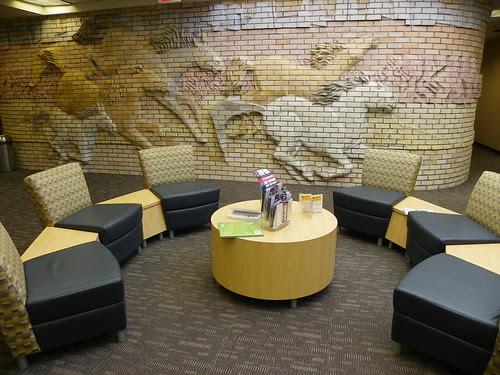 Mustangs racing across the library wall - Mustang Library, Arizona