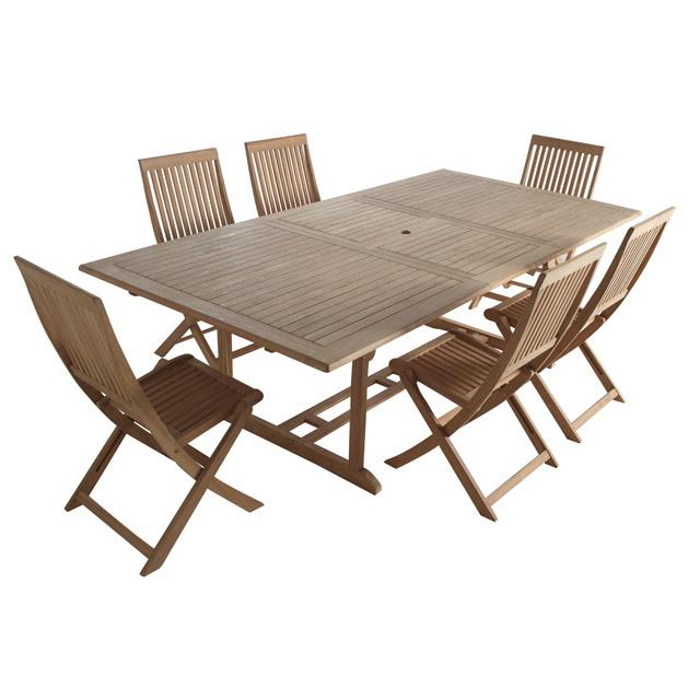 table et chaises de terrasse table de jardin teck pas cher. Black Bedroom Furniture Sets. Home Design Ideas