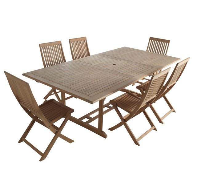 Table et chaises de terrasse table de jardin teck pas cher for Chaise longue teck pas cher
