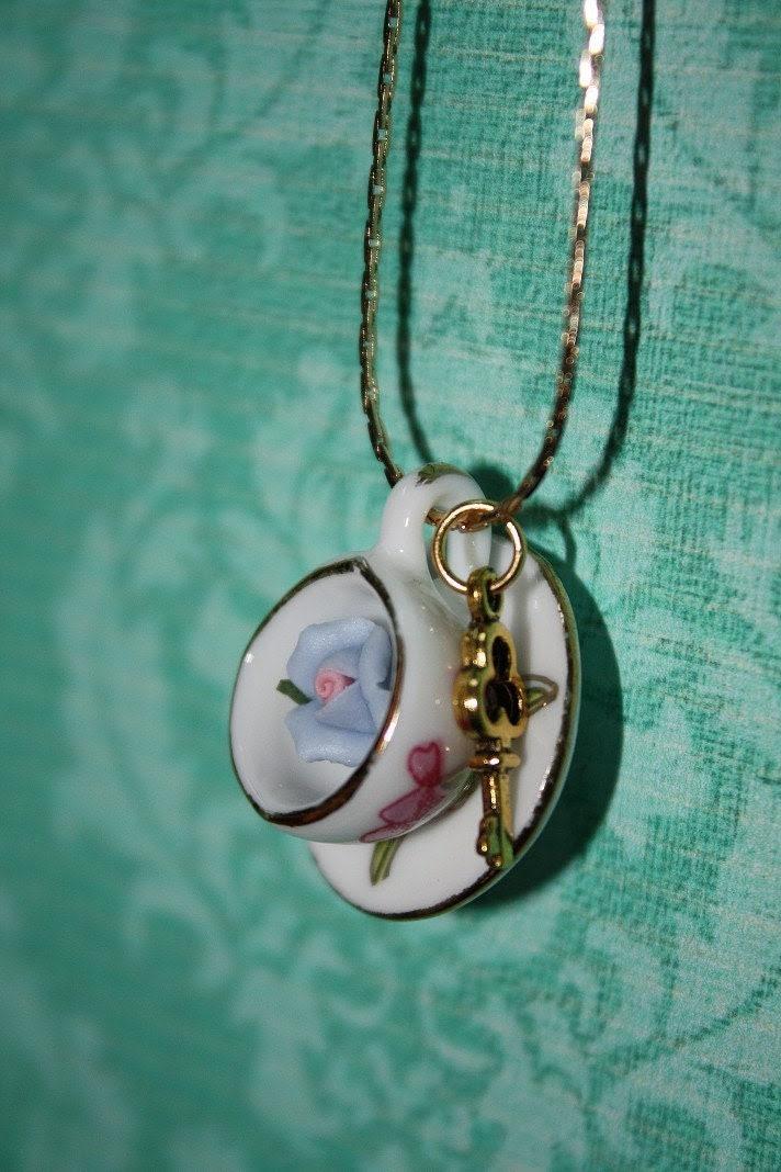 Secret Garden Teacup Necklace - Porcelain Rose