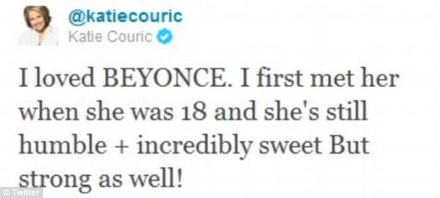 Emocionado: Após a entrevista, Couric twittou seu entusiasmo sobre a entrevista do cantor