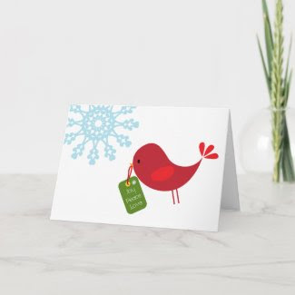 Sweet Christmas Bird - Greeting Card card