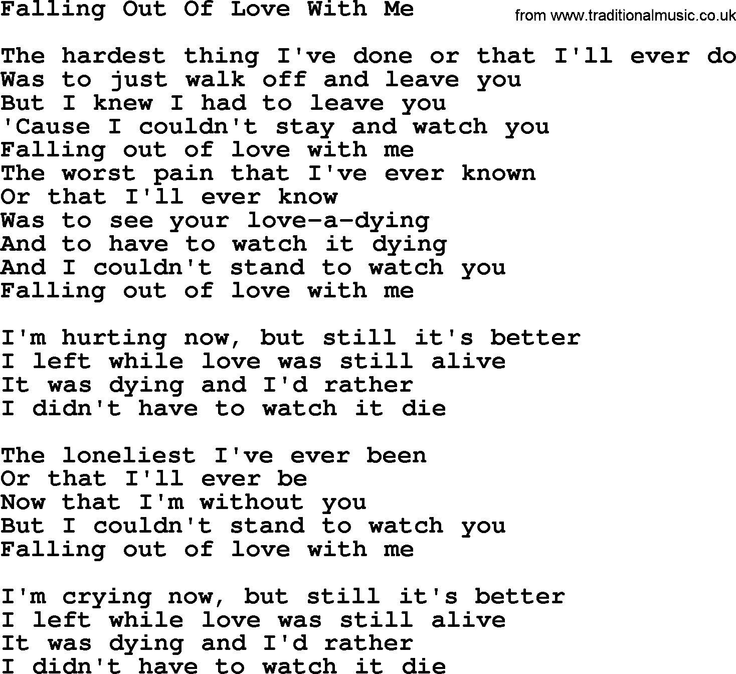 Dolly Parton Song Falling Out Of Love With Me Lyrics