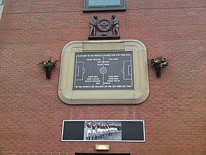 The memorial plaque at Old Trafford, Mancheste...