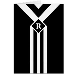 White Stripes and Chevrons on Black with Monogram Greeting Card