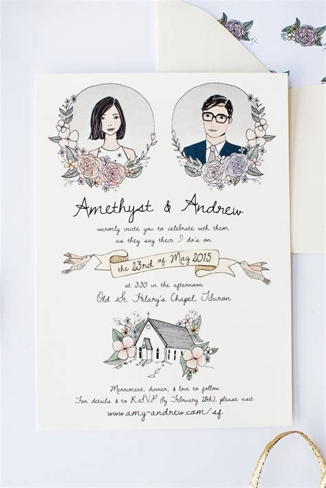 Illustrated Wedding Invitation   Custom Hand Drawn