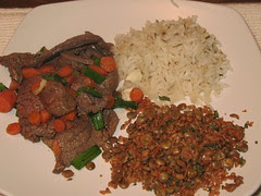 Onion Beef Lentils with Bulgar and Flavorful Rice
