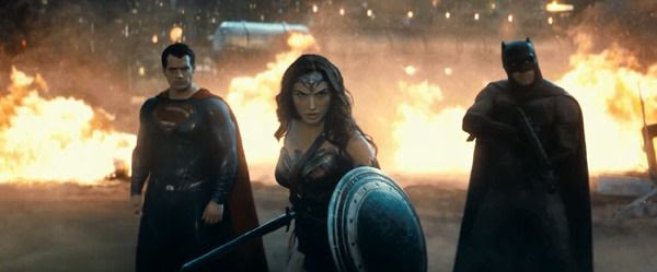 Superman (Henry Cavill), Wonder Woman (Gal Gadot) and Batman (Ben Affleck) take on Doomsday (off-screen) in BATMAN V SUPERMAN: DAWN OF JUSTICE.