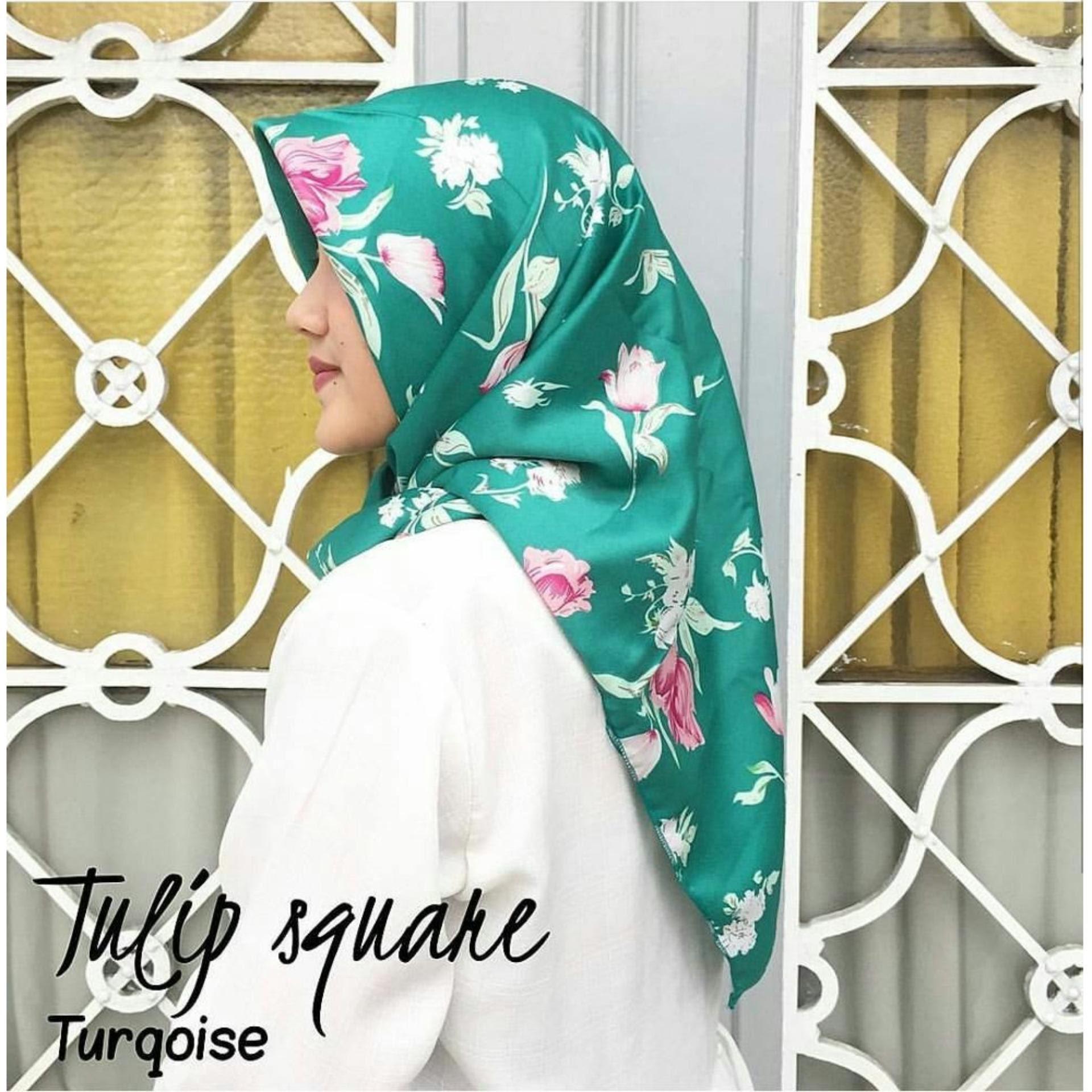 Beli Murah Harga Diskon Premium Jilbab Hijab Kerudung Instan Aisyah Serut Segi Empat Wolfis Motif Tulip Flower Square