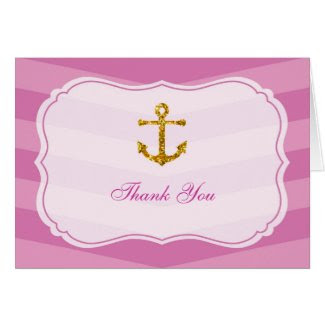 Glitter Anchor Nautical Bridal Thank You Card