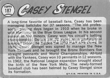 #187 Casey Stengel (back)