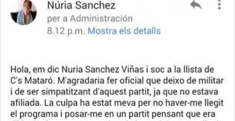 Entrada de Facebook de Nuria Sánchez-Viñas.