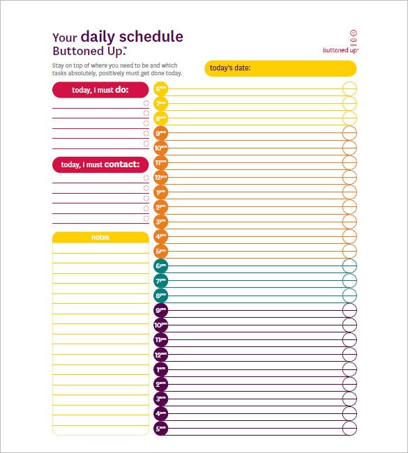 Daily Schedule By Hour | Daily Agenda Calendar