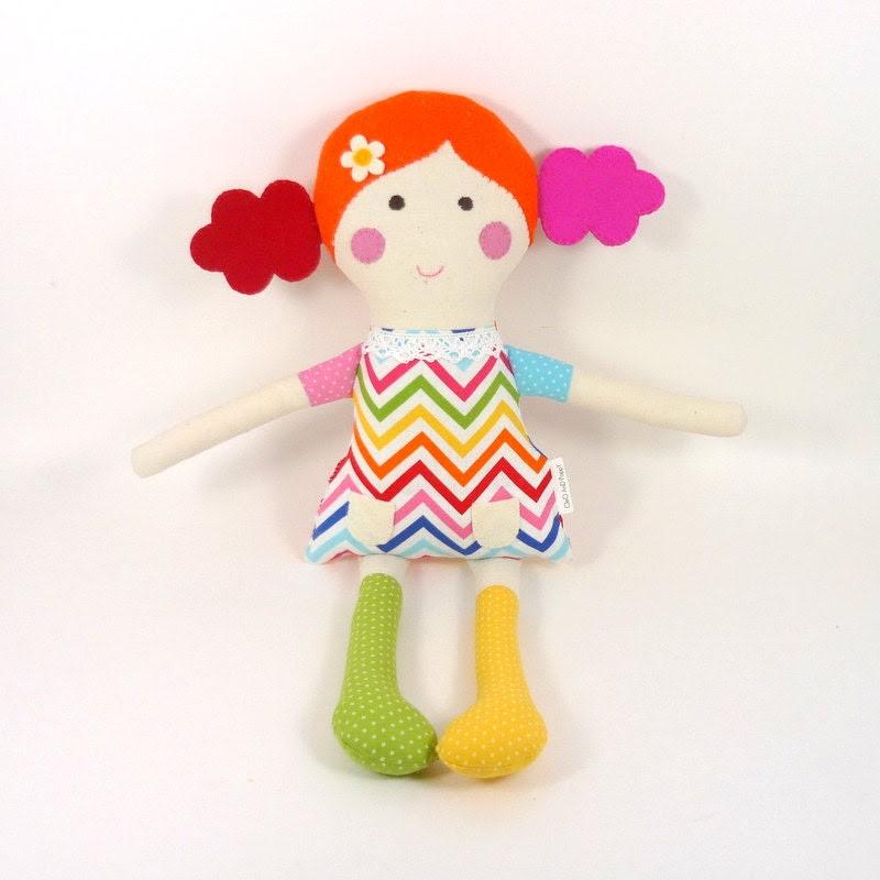 rainbow doll , rainbow rag doll , girl toy , rainbow fabric , multicolor rag doll , eco kid toy , green and yellow , pink and orange
