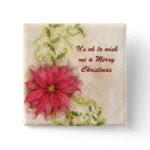 Poinsettia and Holly Christmas Button button