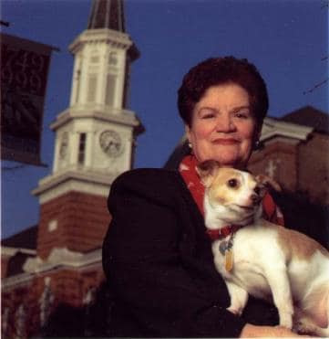 Vola Lawson with her dog Jack outside Alexandria City Hall. A renowned animal lover, the city's animal shelter is named after her. (City of Alexandria)