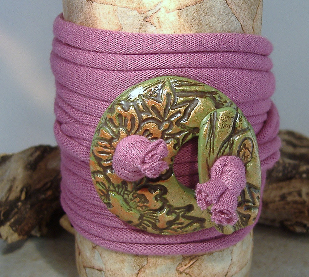 Handmade Wrap Bracelet - Cuff- Wrap Around - Necklace - Anklet - Orchid - Green