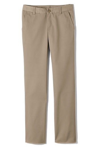 Girls' Perfect Fit Plain Front Blend Chino Pants - Khaki