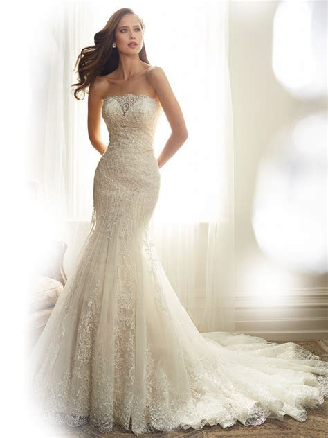 Fit and Flare Wedding Dress with Strapless Neckline