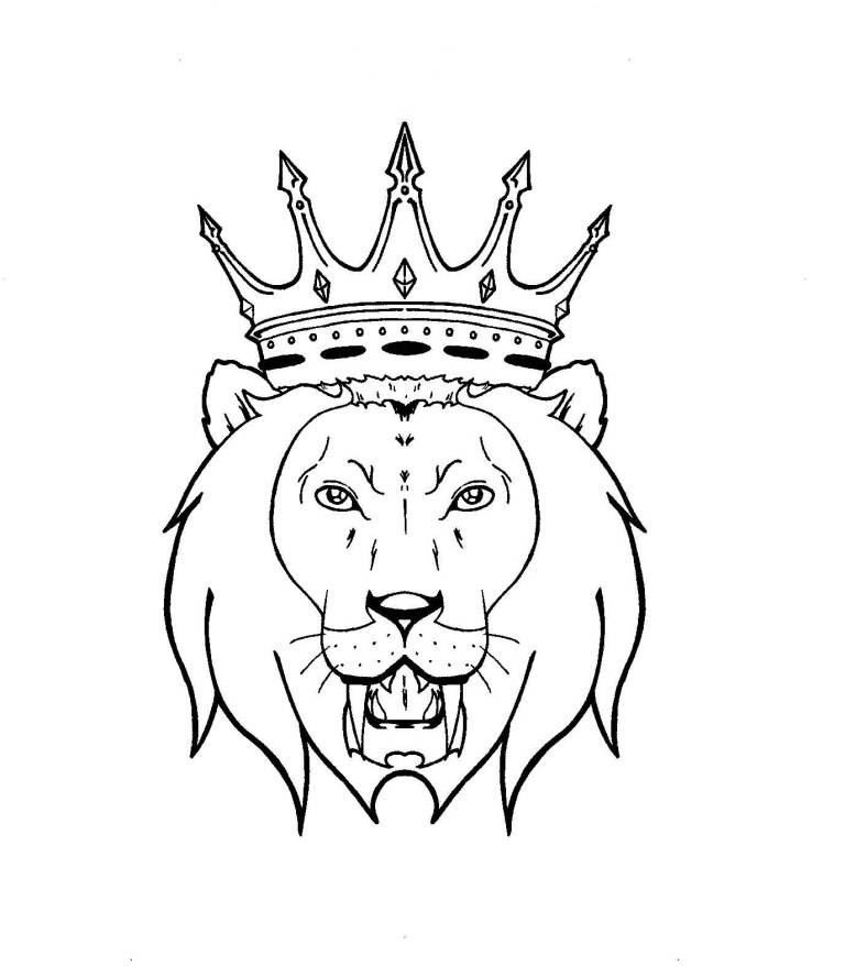 Lion With Crown Tattoo Design On Paper