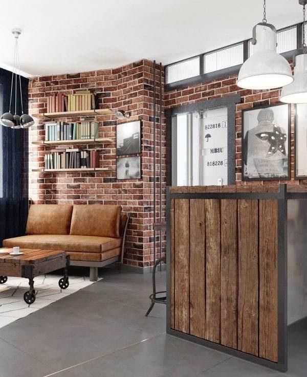 Διαμέρισμα με τούβλο, μέταλλο και ξύλο