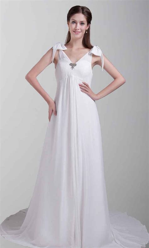 Greek Goddess White Long Prom Dresses With Tie Strap