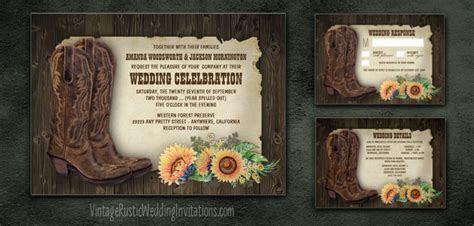 Sunflower Wedding Invitations   Vintage Rustic Wedding