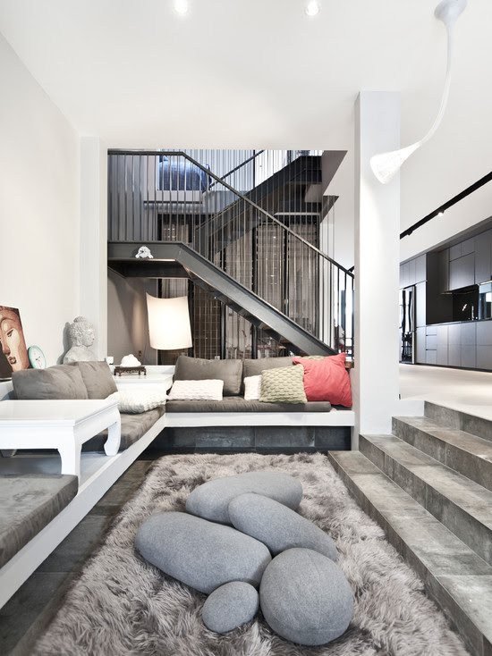stylish living room with white sofa