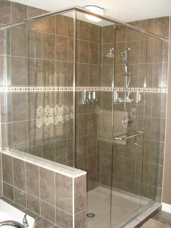 glass shower with half wall | bathrooms | Pinterest