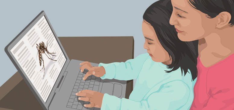 Clipart image of a woman and girl using a laptop computer