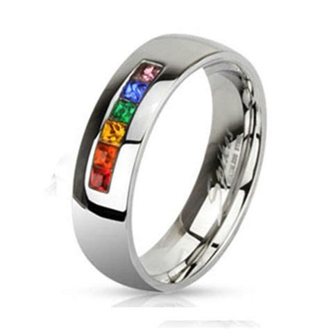 6mm Stainless Steel Gay Lesbian Pride Rainbow Wedding Band