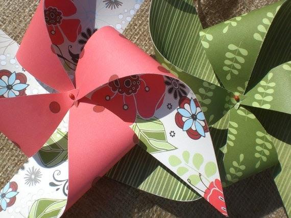 """Pinwheels 8 """"Enchanted Garden"""" Medium Paper Pinwheels"""