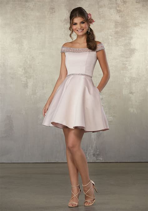 Satin Party Dress with Off the Shoulder Beaded Neckline