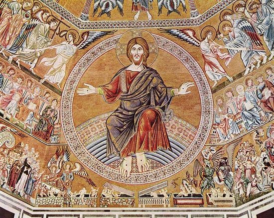 Christ the Pantocrator and the Last Judgment, 1300. Mosaic in the baptistry of San Giovanni, Florence, Itary.