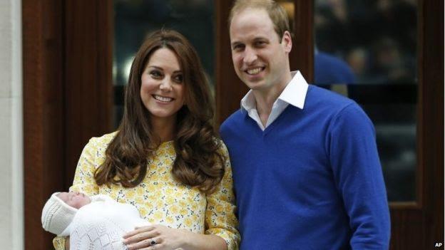 Duke and Duchess of Cambridge with their newborn daughter