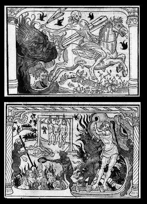 La gueule du Leviathan et la mort sur son cheval AND Les âmes damnés aux Enfers.