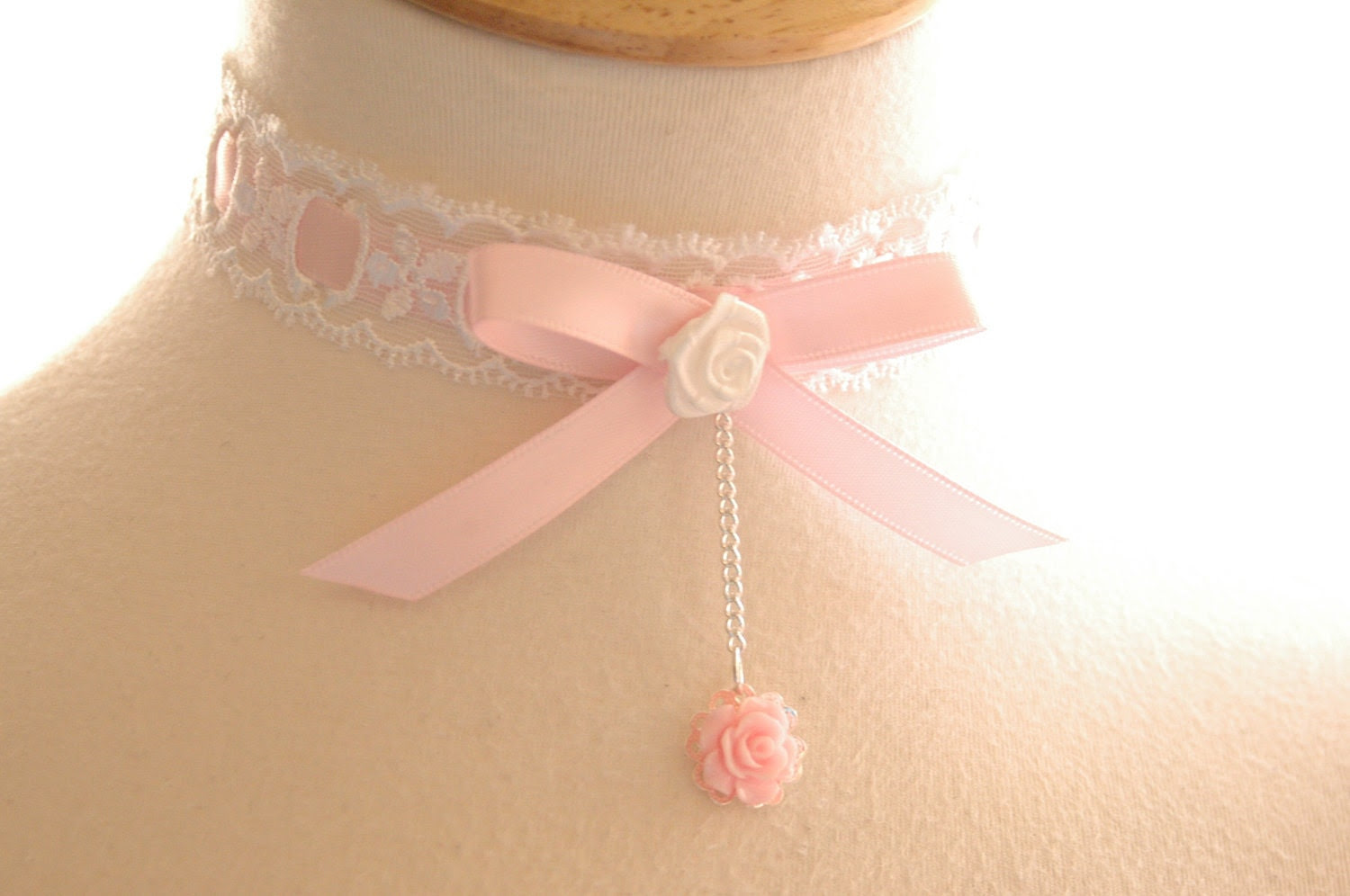 Adorable Pink White Lace Choker necklace Princess collar Fairy Whimsical Romantic bridesmaids Jewelry Sweet Prom night - JoolaDesigns