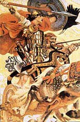 Cuchulainn in battle with his loyal charioteer Laeg