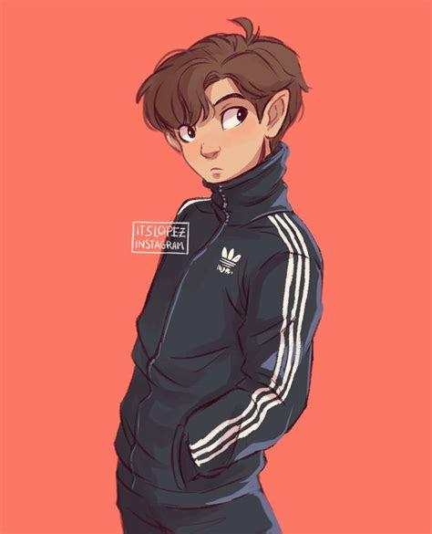 adidas jacket drawing guys itslopez art character art