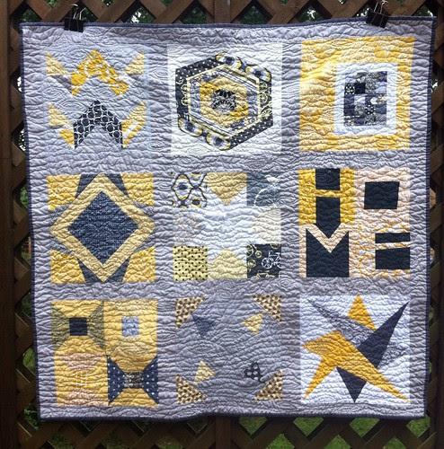 gray/yellow baby quilt