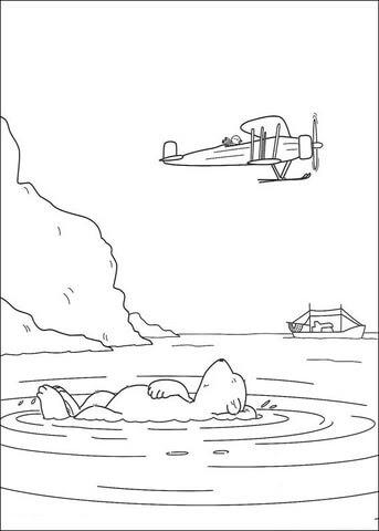 飛行機を見るラース ぬりえ