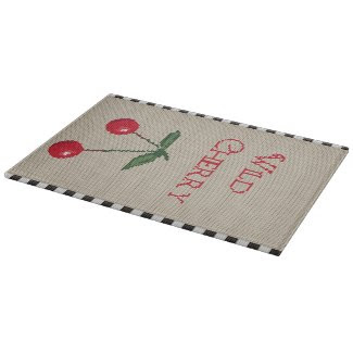 Wild Cherry Cross Stitch Glass Cutting Board