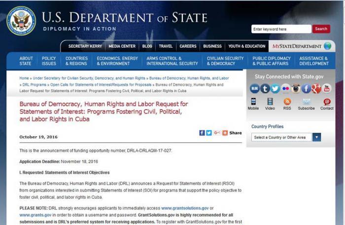 La convocatoria de DRL aparece en la web oficial del Departamento de Estado de Estados Unidos.