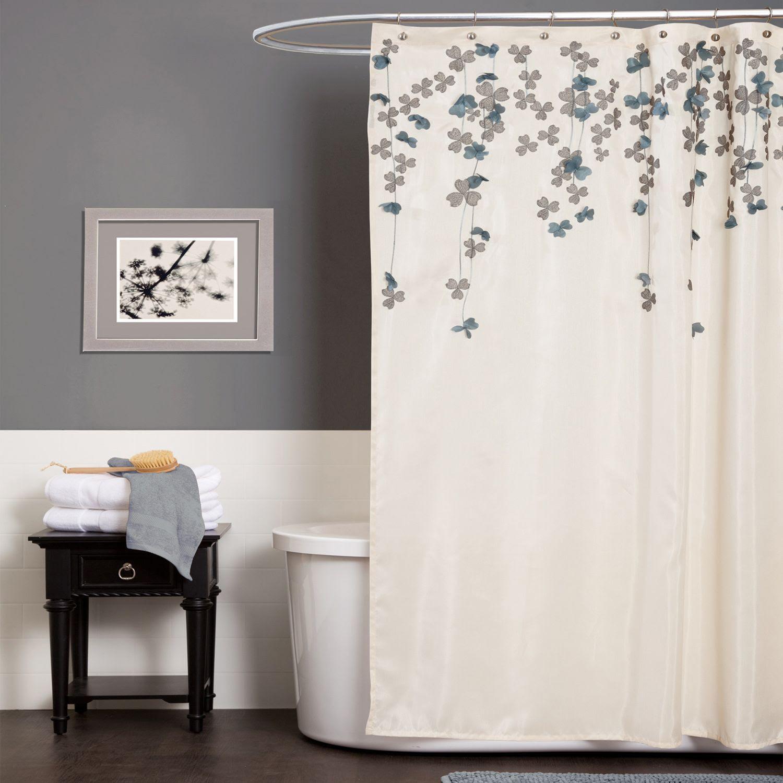 Lush Decor Flower Drop Ivory/Blue Shower Curtain - Home ...
