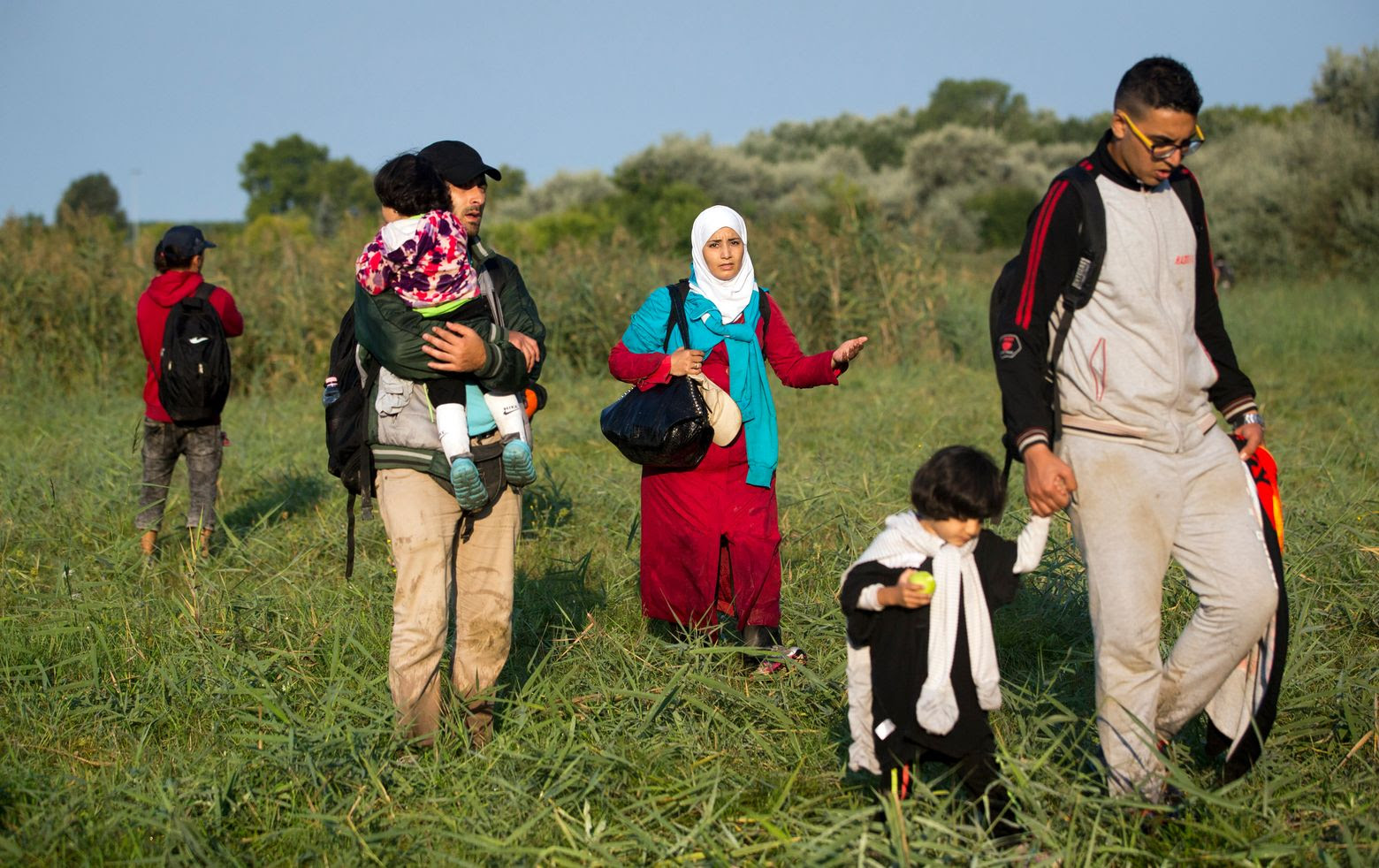 Refugees walk through a field after crossing from Serbia to Hungary, in Roszke, Thursday, Aug. (AP Photo/Darko Bandic)