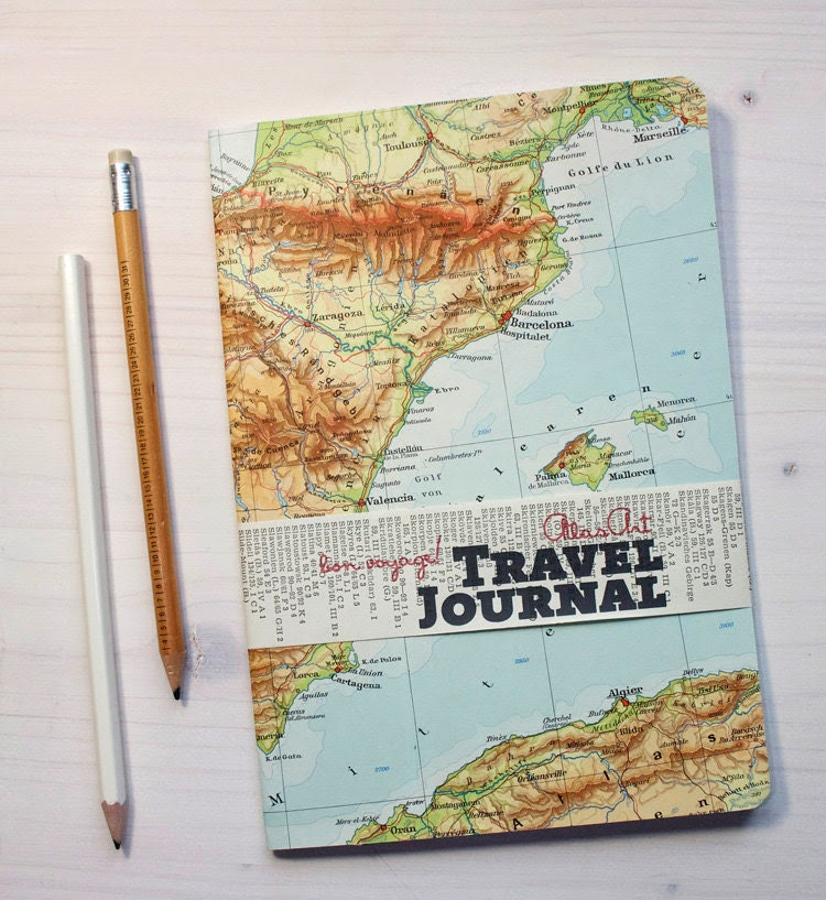 NOTEBOOK, 5,8x8,2inch, 48 pages, RULED Barcelon, Majorca, Ibiza, Spain, travel journal, diary, notebook, atlas, map, vintage
