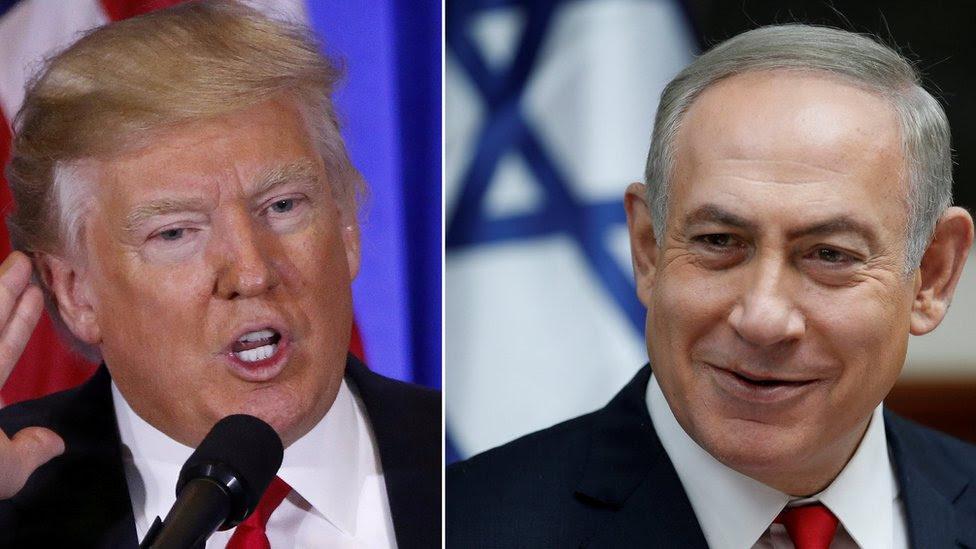 Fotos de Trump y Netanyahu