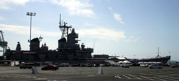 The USS Iowa as seen from the parking lot at Berth 87 in San Pedro, California...on August 7, 2012.